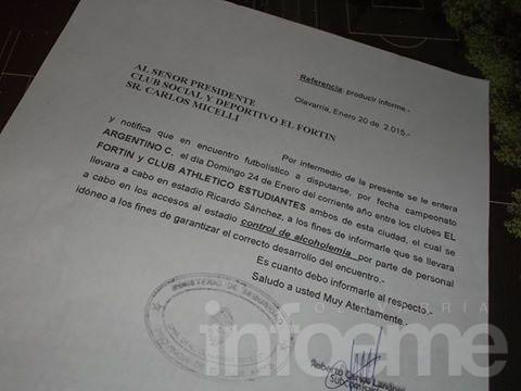 Habrá controles de alcoholemia para el choque entre El Fortín y Estudiantes