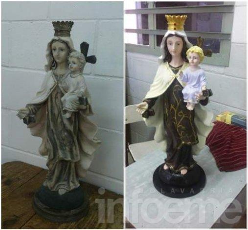 Restauración y reubicación de la  Virgen del Carmen en la Unidad Nº 38