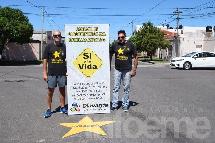 """Se pintaron nuevas """"Estrellas Amarillas"""" de víctimas que circulaban en moto"""