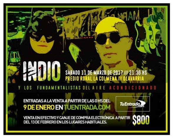 """El """"Indio"""" en Olavarría: desde este lunes estarán a la venta las entradas"""