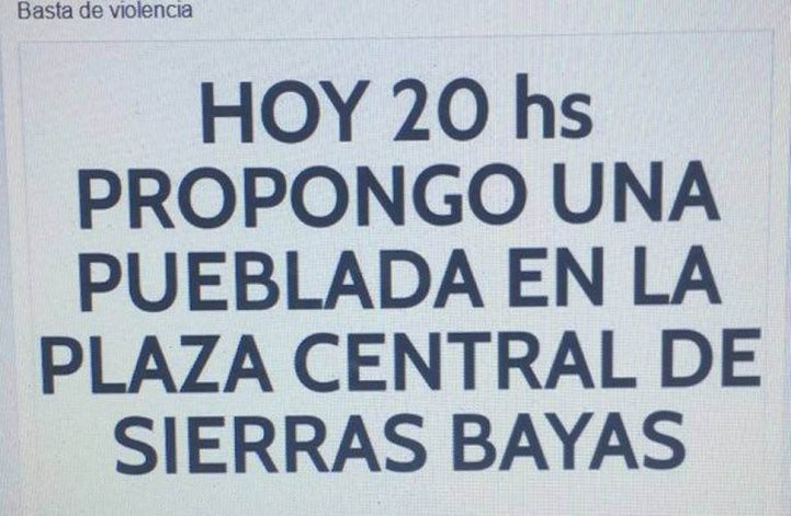 """Basta de Violencia"": Convocan a protesta en Sierras Bayas"