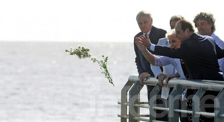 Ignacio y Estela junto al presidente Hollande de Francia
