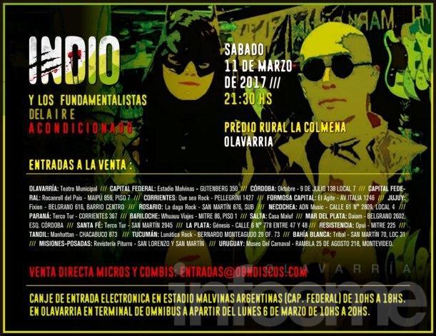 Indio en Olavarría: anunciaron los puntos de venta de las entradas para el recital