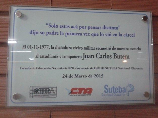 Colocaron una placa por el secuestro de Juan Carlos Butera