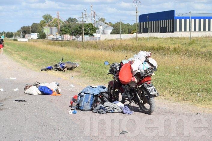 Un auto y dos motos chocaron sobre la Ruta 226