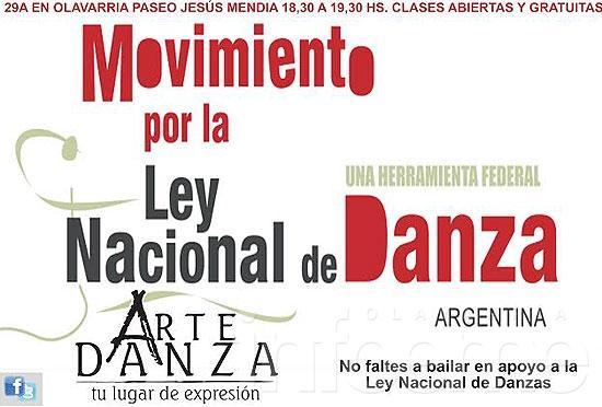 """""""29 A"""", en apoyo a la Ley Nacional de Danzas"""