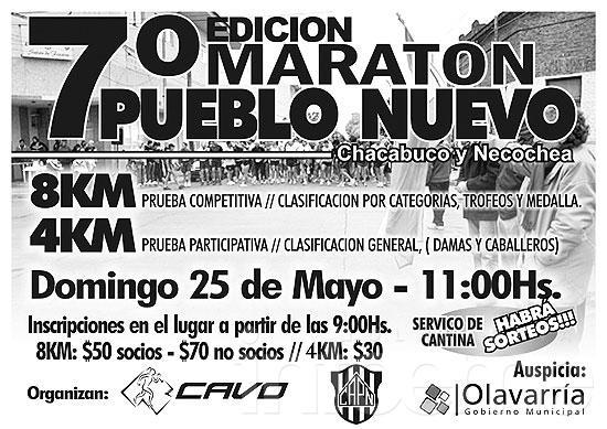 """Se viene la 7º maratón """"Pueblo Nuevo"""""""
