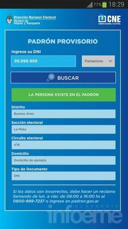 Una aplicación para celulares y una página web permiten consultar el padrón electoral