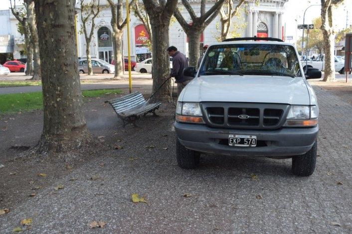 Tras las críticas en las redes, limpiaron los bancos de la plaza