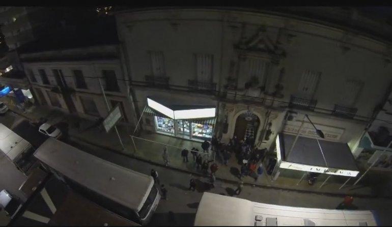 La manifestación de colectiveros vista desde un drone