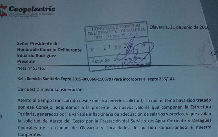 "Coopelectric actualizó pedido de suba de agua atento a la ""variable inflacionaria"""