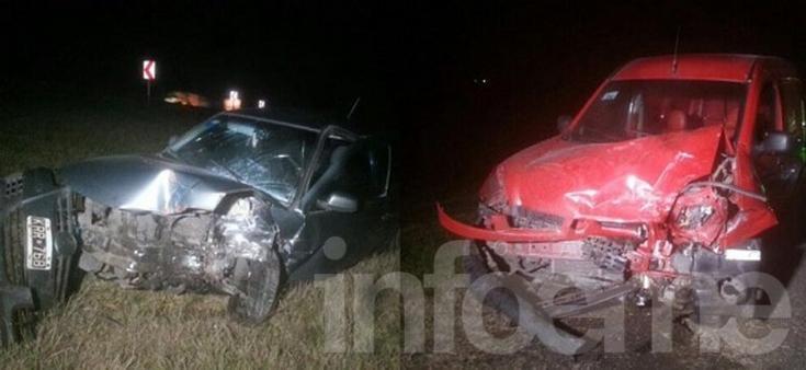 Tres heridos en choque frontal en la Ruta 3