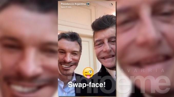 Macri recibió a Tinelli y cerraron con un Face Swap