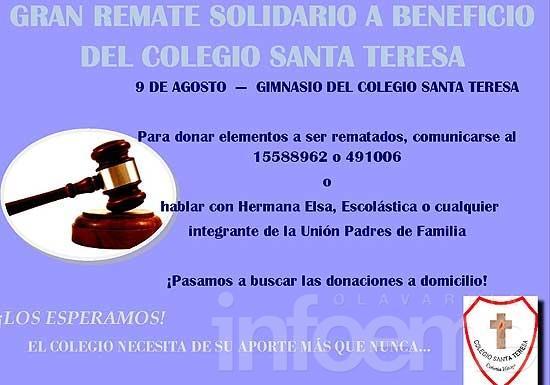 Gran remate solidario a beneficio del Colegio Santa Teresa