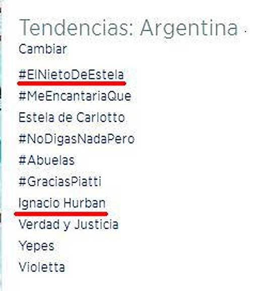 #ElNietoDeEstela e Ignacio Hurban, tendencia en Twitter