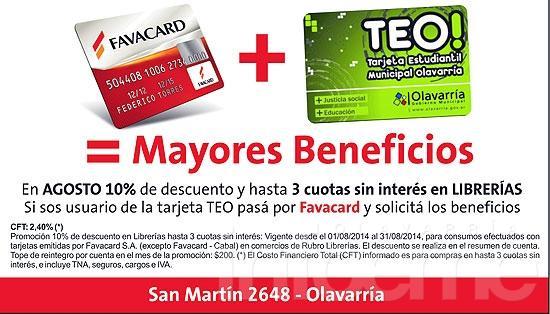 Favacard ofrece descuentos a los usuarios de la tarjeta TEO
