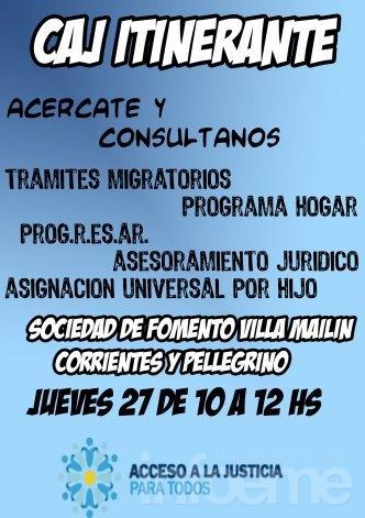 El Centro de Acceso a la Justicia estará atendiendo en Villa Mailín
