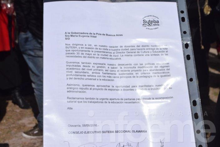 El reclamo de Suteba Olavarría a María Eugenia Vidal