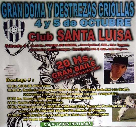 Doma y destrezas criollas a beneficio del Club Santa Luisa