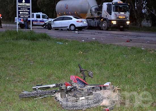Un motociclista herido al chocar en la ruta cerca de Loma Negra