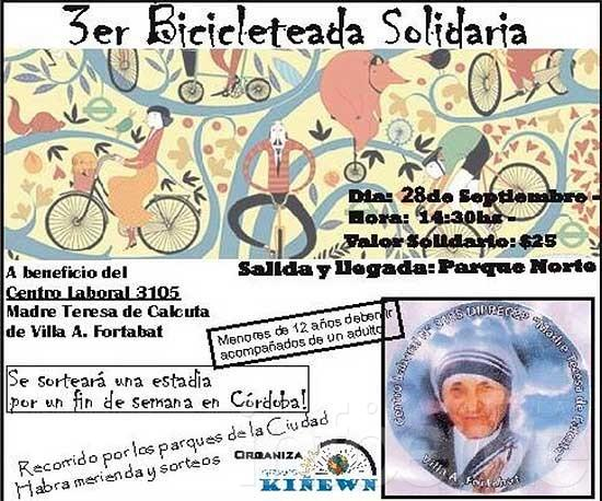 Bicicleteada solidaria a beneficio del Centro Laboral 3105