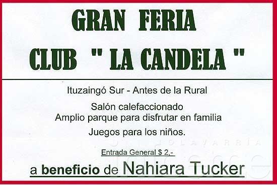 Feria en club La Candela a beneficio de Nahiara Tucker
