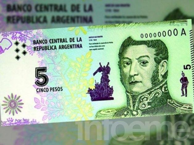 Emiten un nuevo billete de 5 pesos