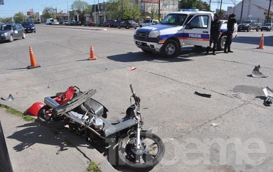 Motociclista resultó herido en violento accidente de tránsito