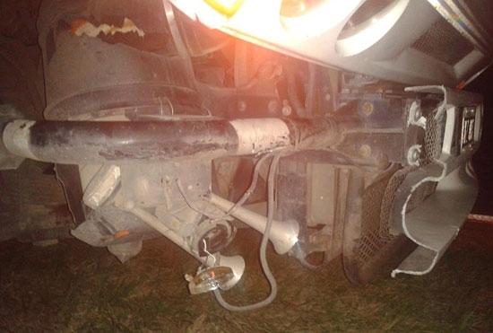 Rompió su camión al chocar una vaca: busca al dueño del animal