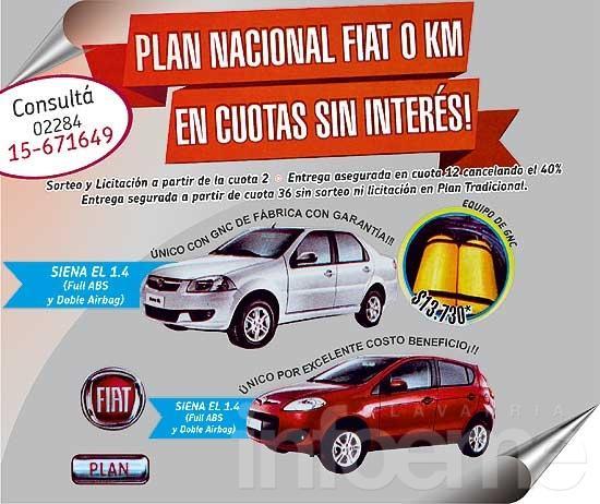 Plan nacional Fiat 0 Km en cuotas sin interés
