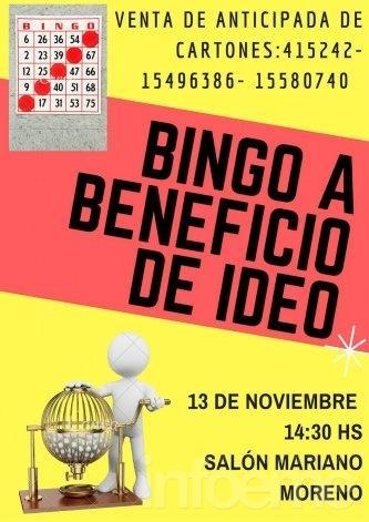 Este domingo se realiza el Bingo a beneficio de IDEO
