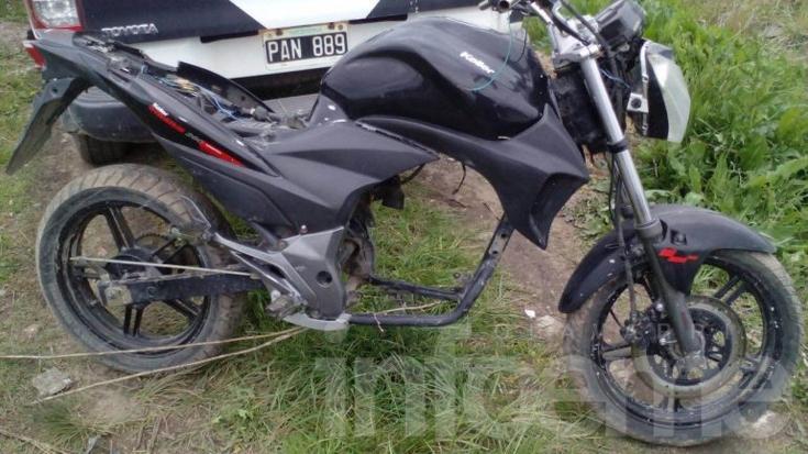 Hallan moto robada: le faltaba el motor