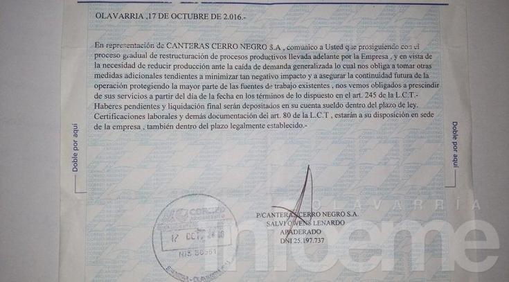 Cerro Negro: sindicato denuncia discriminación