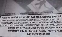 Convocan a un abrazo al Hospital de Sierras Bayas
