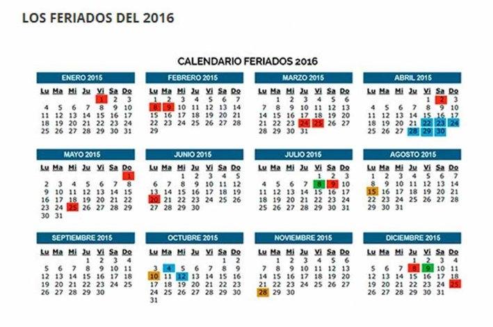 Feriados oficiales para el 2016