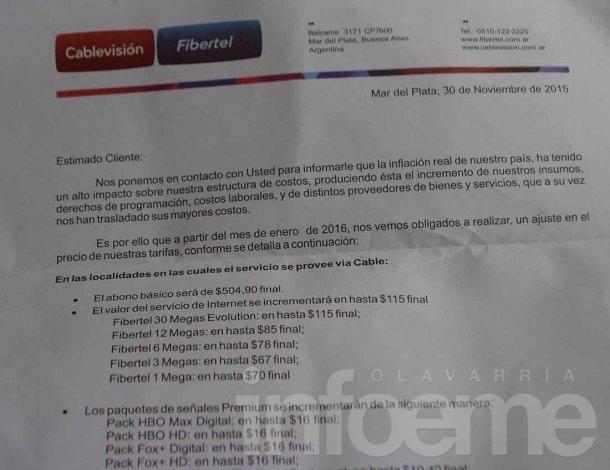 Cablevisión informó que aumenta el Cable e Internet desde enero
