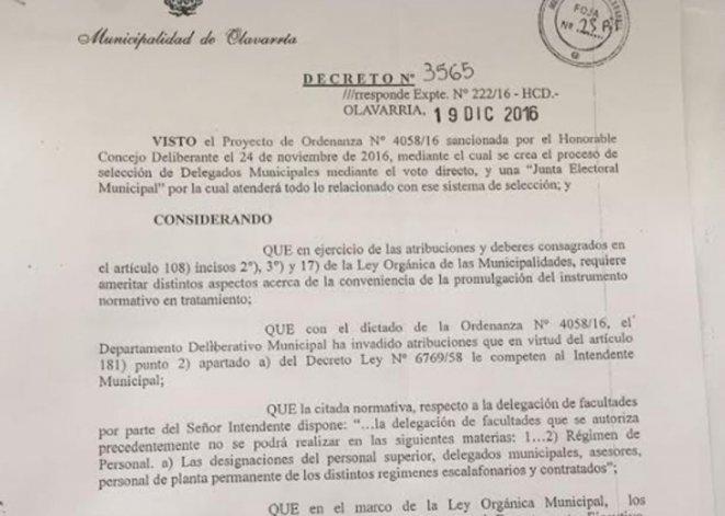 Galli vetó la ordenanza para la elección de Delegados en localidades