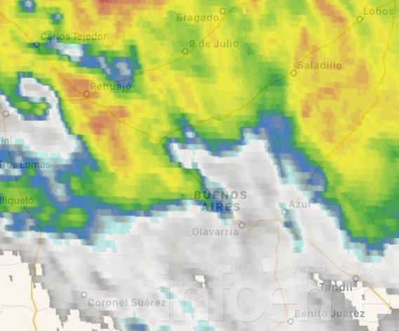 Rige un alerta por tormentas fuertes en Olavarría
