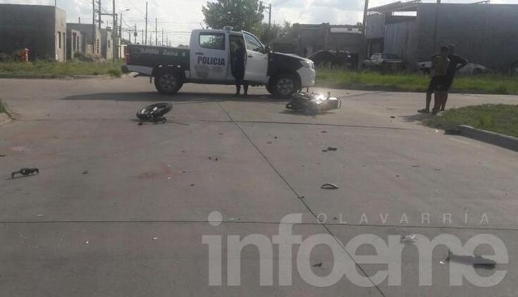 Motociclista sufrió heridas en un violento choque