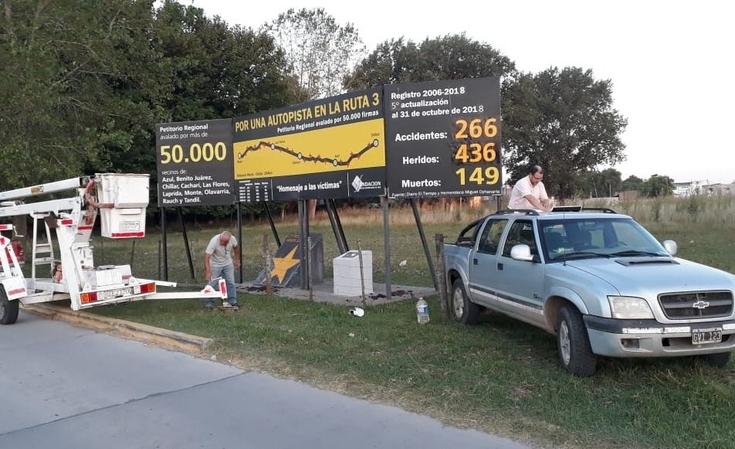 Cifras que duelen: actualizaron cartel que recuerda a las víctimas de la Ruta 3