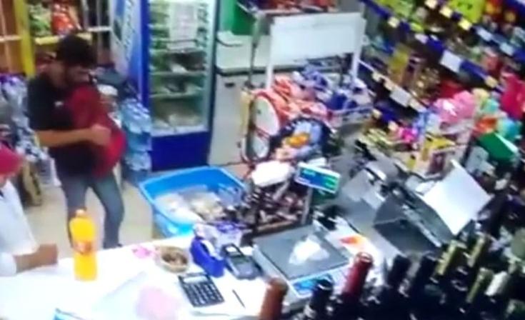 Filmaron a ladrón olavarriense en Tandil: se llevó shampoo y hasta un salamín
