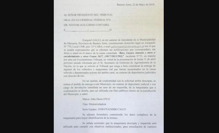 Galli solicita la entrega de una motoniveladora secuestrada en la causa de Lázaro Báez
