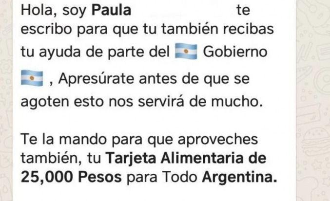 "Una estafa despreciable promete una ""Tarjeta Alimentaria de 25 mil pesos"""